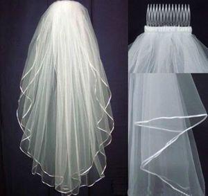 İndirim !! Beyaz veya fildişi 2 kat düğün gelinlik peçe dirsek tarak uzunluğu 2018