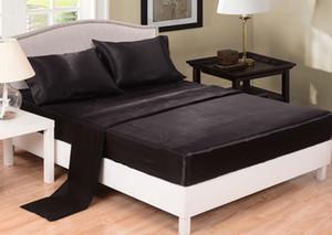Taklit ipek çarşaf düz renk saten çarşaf örtüsü yatak örtüsü ikiz tam kraliçe gri siyah beyaz