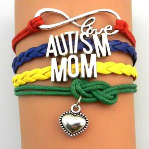 Customized-Infinity Love Autism Sister Nana Grandma Aunt Dad Mum Bracelet Multicayer Autism Awareness Wrap Bracelets Rojo Amarillo Azul Verde