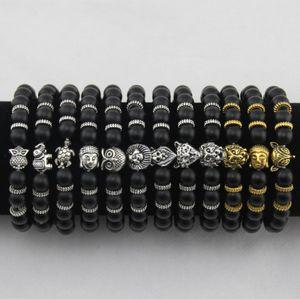 Pulseras para hombre Joyería de lujo Pulsera de perlas de piedra mate Cabeza de leopardo elefante Cabeza de león Tortuga de búho Pulseras de dijes de lava