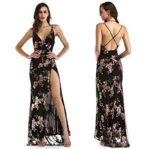 Nouveau Design Maxi Slip Dress Femmes Dos Nu Côté Slit Longueur De Plancher Robe De Soirée De Soirée Noir Or Paillettes Robe De Cocktail