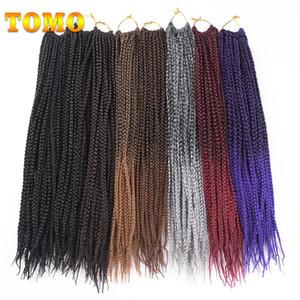 "TOMO Saç 14"" 18"" 22"" Orta Kutusu Örgü Tığ Örgü Saç Uzantıları 22Roots / Paketi Ombre Kanekalon Sentetik 3S Tığ Örgü Örgü Saç"