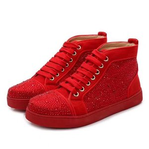 2019 New men and women designer sneakers famous brand red bottom designer mens luxury shoes genuine leather,Men women High helpshoes