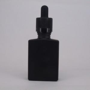 15ml 30ml Vuoto trasparente e nero opaco Bottiglie di vetro quadrato Contagocce Contorno aromaterapia Profumo 1oz Flacone di vetro trasparente Flaconcino