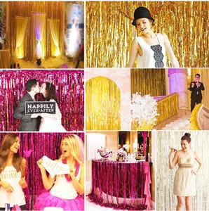 FENGRISE 1x2 3 mt Goldfolie Fringe Vorhang Lametta String Shimmer Shimmer Party Hochzeit Geburtstag Tür Dekoration Photo Booth Hintergrund