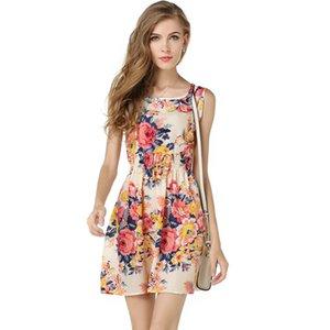 Лето Этнические Женщины Без Рукавов Юбка Шифон Платье Национальный Стиль Цветы Цветочный Принт Мини Мода Юбка Платья Пляж Повседневная Dress