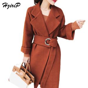 HziriP 2018 hiver couleur unie manches longues revers haute qualité EleLoose Casual femme manteau poches poches veste automne vêtements