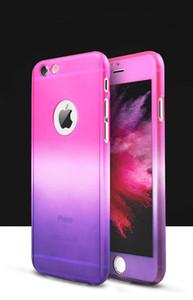 Pour iPhone 7 6 6s Plus 5 SE 360 Degrés Corps Complet Téléphone Téléphone Cas Hybrid Verre Trempé Protecteur D'écran De Couverture De Couleur De Gradient Téléphone