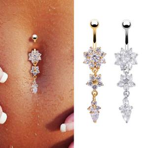 Kristal Navel Bell Düğme Yüzüklerin 1PCS Yeni Moda Seksi Dangle Çiçek Göbek Yüzükler Piercing Göbek Vücut Takı