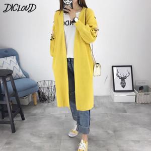 DICLOUD 2018 Harajuku Broderie Fleur Cardigan Femme De Mode Lâche Oversize Pull Femme Automne Noir Manteau D'hiver Vêtements
