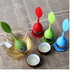 10pic nuevo silicón de la hoja del tamiz del té bolsa de filtro de acero inoxidable de Infuser del té del envío libre