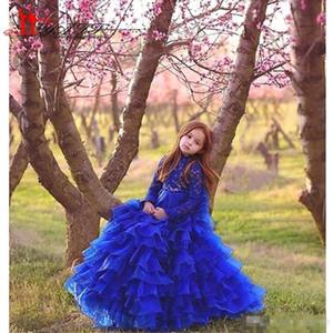 New A Line Royal Blue Girl's Pageant Abiti con gonna a strati Maniche lunghe Collo alto Organza Flower Girl Dress Bambini Abbigliamento formale BC0223