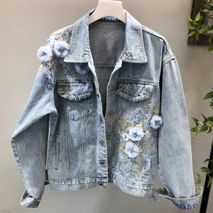 Moda 2018 Outono Mulheres Denim Jacket Floral Bordado solto Denim Jacket Long Sleeve Jeans Coat