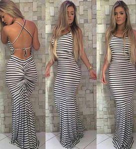 nueva Vestido de tirantes halter cuello largo Negro raya blanca Mujeres maxi plisado bodycon del vendaje de recogida vestido de la raya envío libre