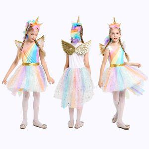 5-12Y Girl Unicorn Fancy Dress Costumes Rainbow Paillettes Tutu Wedding Party Princess Dress con ali di cerchio Hair Set per Cosplay