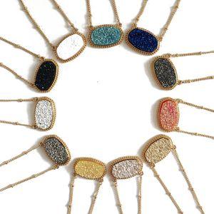 Мода druzy drusy ожерелье серьги Кендра серебряный позолоченный искусственный натуральный камень Скотт ожерелья серьги для женщин марка ювелирных изделий
