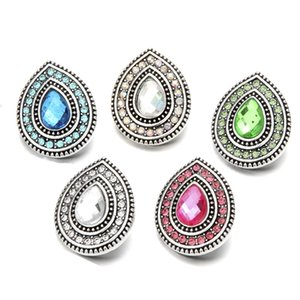 Inlay Drop Shape Crystal Rhinestone Snap Buttons 18mm Metal Flower Decorative Button charms for DIY Snap Jewelry Findings
