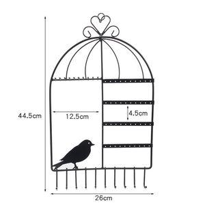 TONVIC Birdcage Forme support mural Bijoux Organisateur Hanging boucle d'oreille Porte-Collier Présentoir rack 44.5cm H Blanc / Noir / Rose