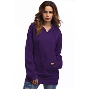Femmes solides sweatshirts lâches Simply Hoodies à capuche Slim Fit Outwear Thin Pure Cotton Causal Top Vêtements