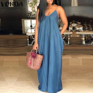 Sexy Beach denim Maxi Long Dress Donna V Neck Backless senza bretelle casuale Solid slaccia più la pavimento-lunghezza Abiti