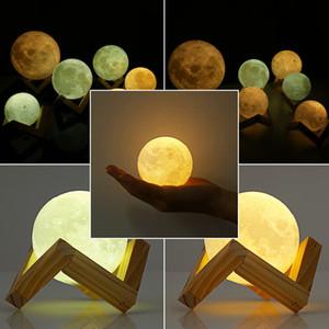 3Д волшебное Луна лампы 2018 3Д волшебное светодиодный Луна-ночник луна настольная лампа USB зарядка сенсорное управление подарок 6шт
