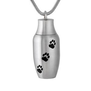 IJD9787 Açılabilir 30mm * 13mm Pet Paw külleri Takı Mini Memorial Urn kolye Locket Köpek / Kedi Cremation Keepsaker yazdır