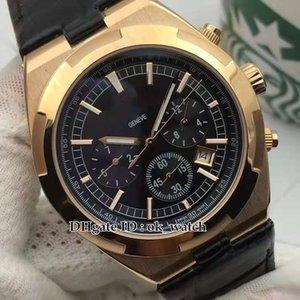 NEW OVERSEAS 5500V / 000R Мужские автоматические часы черный циферблат Корпус из розового золота черный кожаный ремешок высокое качество 42мм новые мужские часы