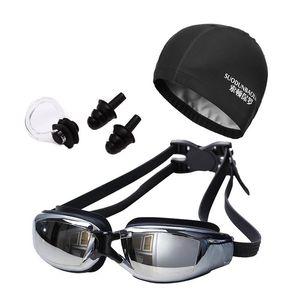 새로운 여성 남성 안티 안개 자외선 서핑 수영 고글 수영 모자와 전문 수영 안경 귀마개 클립 세트