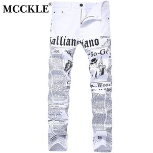 MCCKLE 2017 Autunno Uomo pantaloni denim bianco stampa giornale pantaloni casual mens jeans skinny dipinti per uomo taglia 28-42
