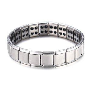 Vente chaude Énergie Bracelet magnétique Santé pour Femmes Hommes santé style plaqué argent Bracelets en acier inoxydable Cadeaux Bijoux fantaisie en gros