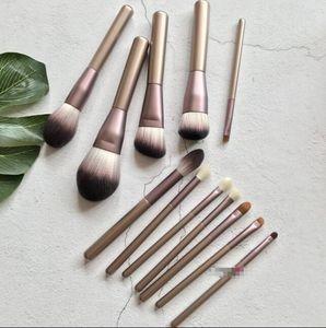 12 adet makyaj fırça setleri Mor üzüm fırça seti Yün göz farı Gevşek toz fırçası