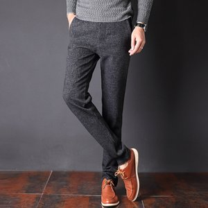 2018 Spring trousers Fashion High Quality Wool and coon Men Pants Straight Classic Business Casual Men's Trousers