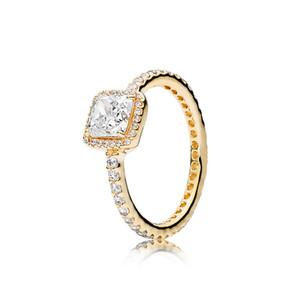 ouro amarelo Anéis banhado define Mulheres de casamento anel de caixa original para Pandora 925 Sterling Silver Square brilho do halo Anéis
