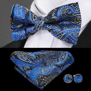Fast Shipping Cravatta Bluves Blues Paisley Jacquard Tessuto in seta Set Set Set Standard Ad Accessori per uomo Fashion Fashion Ad Accessori per uomo LH-0724
