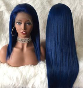 parrucca piena del merletto di colore blu delle parrucche piene brasiliane blu dei capelli umani parrucca per le donne di colore trasporto libero