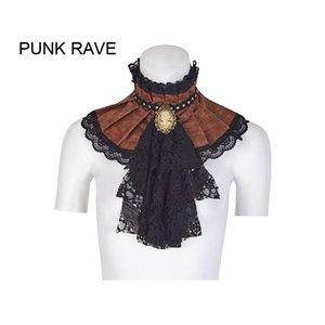 Großhandel Damen Steampunk Jabot Kragen Cravat Krawatte schwarze Spitze Gothic Aristokrat s225