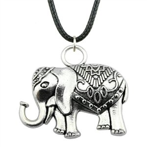 WYSIWYG 5 Pieces Leather Chain Necklaces Pendants Choker Collar Pendant Necklace Women Double Sided Elephant 28x31mm N6-B12386