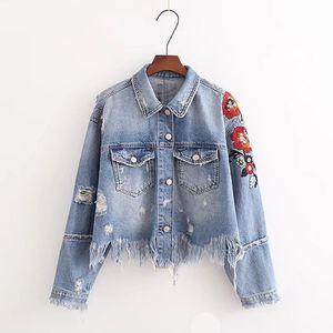 Denim Jacket Women Short Denim Jacket Hot Sale Direct Selling Sleeved Coats Fashion Embroidered Outerwear Jacket