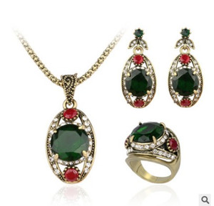 European and American retro Jewelry Set Earrings Necklace Ring three piece emerald crystal gems