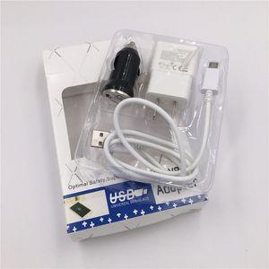 3 in 1 USB Charger Kit 5V 2A US / EU della parete Charger Power Adapter + Micro USB Cable + caricabatteria da auto con la scatola di vendita al dettaglio per Samsung Galaxy S3 S4