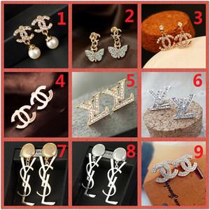 SICAK! Karışık Toptan 14K Stud Küpe Altın Gümüş Eardrop İnci Elmas Harf logosu Dangler Takı Tatil Hediye Moda Partisi A1