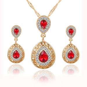 Red Crystal Wedding Bridal Set di gioielli Set Designer Neck Breidesmaid Accessori Accessori Bridal Accessori Bridal Set Spedizione gratuita (collana + orecchini)