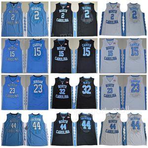 Carolina do Norte Tar Heels Jerseys College Basquete Vince Carter 15 Michael 23 32 Luke Maye 5 Nassir pouco costurado preto branco azul