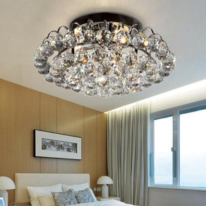 Modernos 40 cm de lujo redondo bola de cristal decoración luces de techo fixutre superficie montada luminarias plafons para comedor sala de estar dormitorio