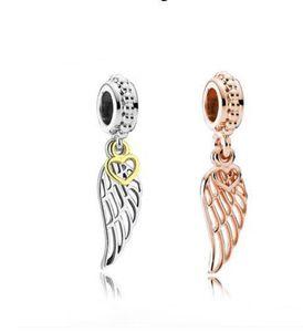Fit Pandora Charm Bilezik Avrupa Gümüş Takılar Gül Altın Kolye Melek Kanat Dangle DIY Kadınlar Için Yılan Zinciri Bileklik Kolye Takı Xmas
