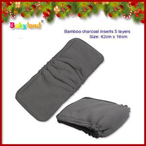 (30 piezas / lote) Pañal de algodón orgánico / carbón de leña Insertos para pañales Inserciones antifugas para pañales de bambú.