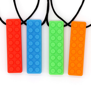 2PCS PACK Textured Sensory Silicone Chew Necklaces Baby Teether Baby Bites Necklace Autism Toy For Teething Improve ASD Phthalates Free FDA