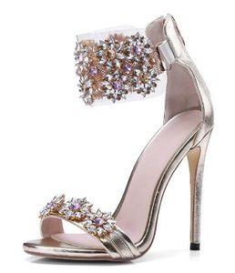 2018 Shinny Crystal Lady Тонкие высокие каблуки сандалии обувь лодыжки Wrap Open Toe Rhinestone Party Dress Women Summer Pumps