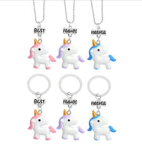 Cute Cartoon Best Friend Collares Set de Joyas Niños Candy Unicorn Party Supplies Regalos para Niñas Mujeres Venta al por mayor