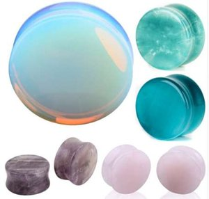귀 확장기 귀 피어싱 1 쌍 Opalite Stone Ear Plugs 터널 게이지 Expander Body Piercing Jewelry